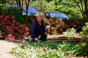 Beth caught a few minutes to weed in the front garden and enjoy the sweet Earth Day air.