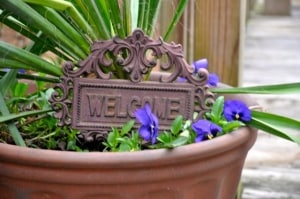 """A sign greeting us as we walk up the ramp to one of the classes through its garden says, """"Welcome."""""""