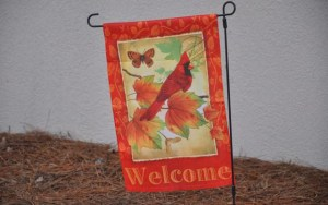 """A sign says, """"Welcome"""" as we arrive early."""