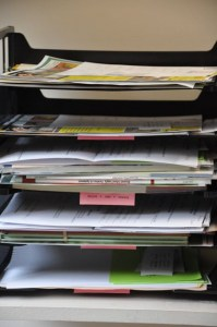 . . .stuffing the teachers' boxes with mail, articles, Summer Scapes news and booklets.
