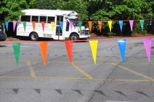 There were new flags up in the parking lot. We could see these on the way to recess.