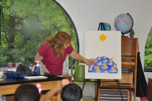 "She presented the First Great Lesson, ""The God Without Hands,"" the story of the beginning of the universe, right away. We loved the part about the volcanoes."