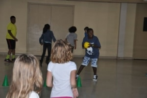 . . .and playing dodgeball in the Fellowship Hall.