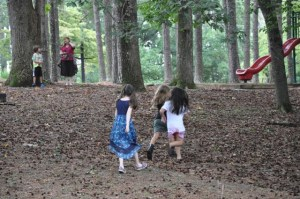 At the park, some of us played soccer, and some played on the equipment, or made up our own games among the trees.
