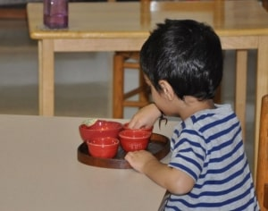 Sorting objects in shiny red bowls is fun, not only because of its appearance, but its feel and the sound the objects make against the surfaces of the glaze.