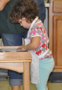 We use a special marble table for baking. It is also important to wear the correct apron.
