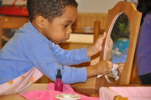 . . .polishing a mirror--and looking into it. . .