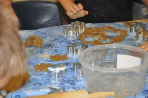 Some of it we rolled out flat and cut into shapes, like cookies, to make a wind chime later.