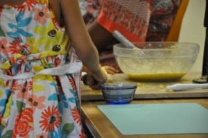 Measuring ingredients and adding them carefully requires a practiced hand, too.