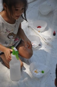 She very quickly explained what to do so that we could get to work, putting out different colors of food coloring and trying our hands with the spray bottles.