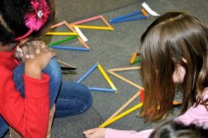 Assembling Geometry Sticks to make various kinds of triangles is so much fun, we try to use all of the sticks.