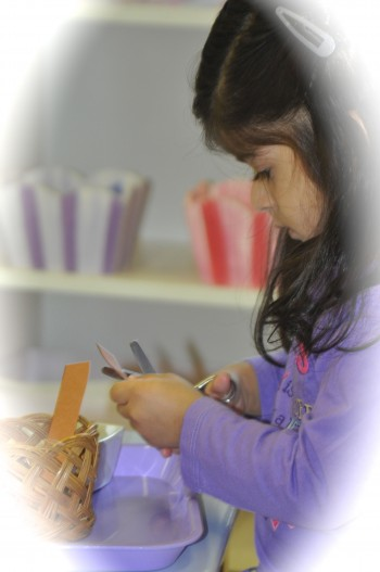 Little jobs like paper cutting strengthen our hands for holding a pencil.