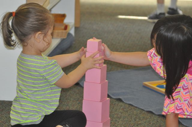 Again, a younger and an older child work together, drawn by the beauty and the exactness possible with the materials.  They are building a Pink Tower with two faces aligned, creating a ziggurat-like shelf on two sides, exactly large enough to accommodate the one centimeter-cubed piece.