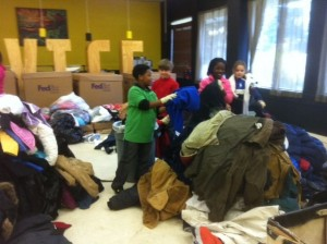 Another coat-related activity involved sorting the coats we brought to United Way.  This was a huge job.