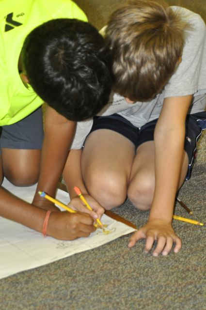 It's fun to work together to create charts and timelines.  This can require a great deal of writing.