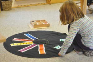 Grading shades of colors to create a giant color wheel.