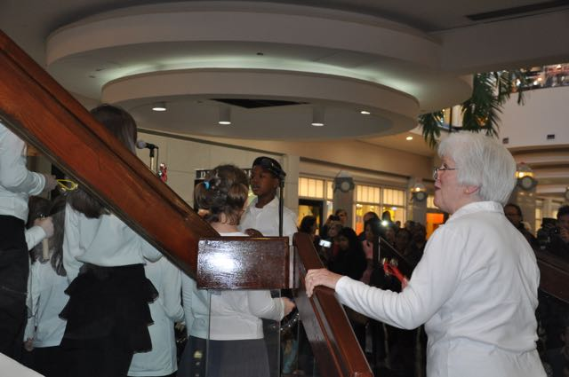 Today, at Northlake Mall, the Northwoods Chorus sang and at different times, certain older children led the group.