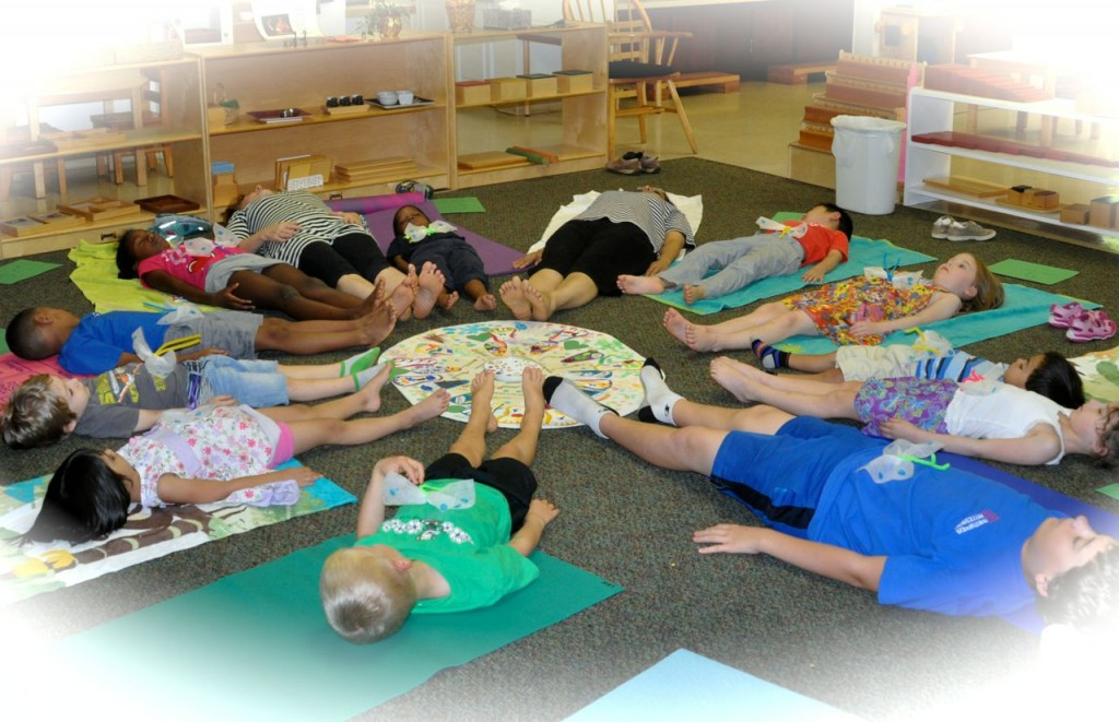 We would lie in Shivasana with our feet near the mandala we'd made and with our butterflies on our stomachs.