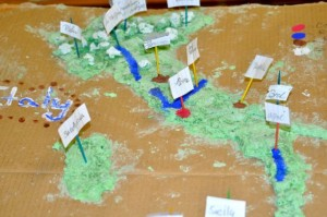 A salt map of Italy showed topographic features, major cities and rivers. This was a group project that required some intense effort---and some help from our classroom Assistant with the hot plate.